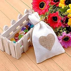 12 Bolsas de Arpilleria Blanca con Corazón