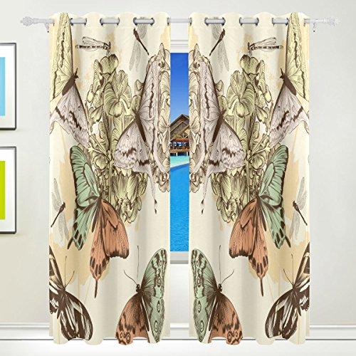 TIZORAX colroful Schmetterlinge Vorhänge mit Blumenmuster Darkening Thermo-Fenster Blackout-Vorhänge für Wohnzimmer, Schlafzimmer 55x 84cm, Set von 2- (84 Tülle Oben Vorhänge)