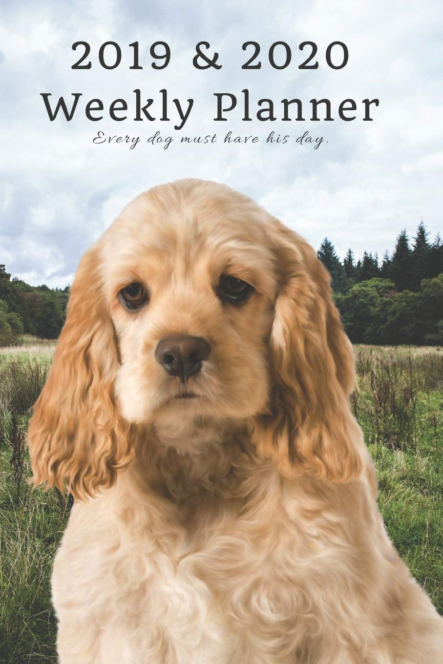 2019 & 2020 Weekly Planner Every dog must have his day.: Cute Cocker Spaniel in Nature: Two Year Agenda Datebook: Plan Goals to Gain & Work to Maintain Daily & Monthly (6 x 9 in; 105 pages)