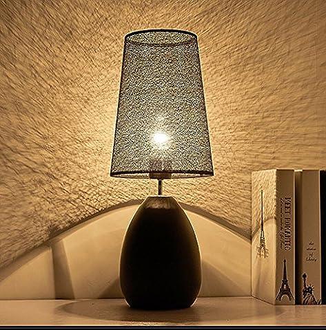 ELINKUME Tischlampe, Nachttischlampe Tischlampe für Schlafzimmer, amerikanischem Stil Tischlampe, einfachen und modernen Lampe (schwarz)