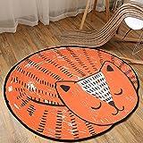 TEPXL Teppich Fußmatten Matten Rush Cartoon Round Teppich Kind Schlafzimmer Nachttisch Wohnzimmer Hängesessel Stuhl Matratze Schöne Bett Bettdecke (Orange, 100 x 110 cm)