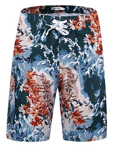 APTRO Herren Shorts Freizeit Casual Mode Urlaub Strandshorts Sommerhose BS025 XL Orange