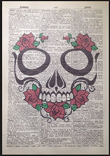 skull-stampa-vintage-dictionary-page-wall-art-picture-skeleton-red-roses-gotico
