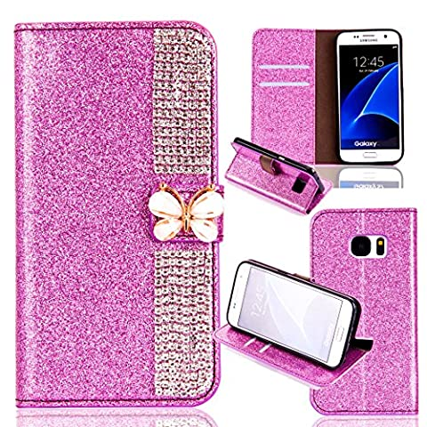 Samsung Galaxy S7 Edge Wallet Case,Samsung Galaxy S7 Edge Flip Case,Leather Case with Stand for Samsung Galaxy S7 Edge,Luxury Novelty Cool Cut Premium Scratch Resistant 3D Bling Sparkle Shiny Glitter PU Leather Creative Butterfly Design Claw Chain Diamond Rhinestone Pattern Folio Magnetic Closure Flip Wallet with Credit Card Holder Slots [Kickstand] Full Body Protection Book Style Bumper Case Cover Shell for Samsung Galaxy S7 Edge 5.5