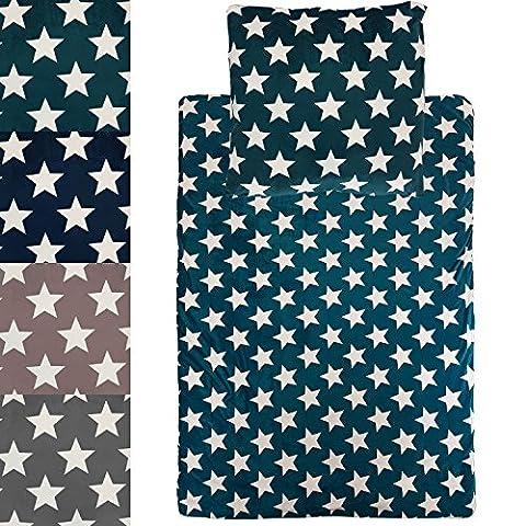 Set linge de lit thermique Star: Houssse de couette + Taie d'oreiller - Set de draps polaires avec surface en microfibre douces et chaudes,