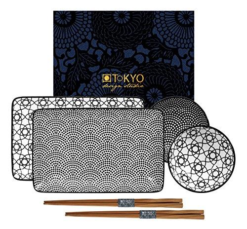 Tokyo design studio, nippon nero, set per sushi, confezione regalo, porcellana