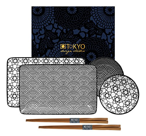 Tokyo Design Studio, Nippon black, Sushi Set , Geschenkbox, Porzellan Design Sushi-set