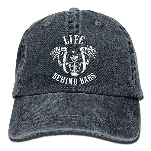 Life Behind Bars Motorcycle Biker Washed Retro Adjustable Jeans Caps Hiking Caps for Male Female