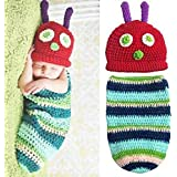 Feichen Newborn Baby Boy Girl Beanie Crochet Hungry Caterpillar Hat Set Party Costume Photo Props