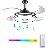 HOREVO 36W Rétractable Ventilateur de plafond avec Lampe et Bluetooth Haut-parleur Plafonniers Dimmable avec…