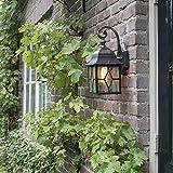 QAZQA Klassisch/Antik /Landhaus/Vintage / Rustikal Außenlaterne Londen Außen Wand/Außenbeleuchtung Aluminium/Glas Würfel/Quadratisch LED geeignet E27 Max. 1 x 60 Watt