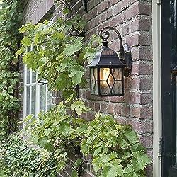 QAZQA Klassisch/Antik/Landhaus/Vintage/Rustikal Romantische Außenlaterne bronze - London/Außenbeleuchtung Aluminium/Glas Würfel/Quadratisch LED geeignet E27 Max. 1 x 60 Watt