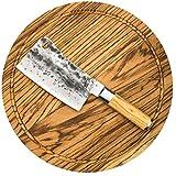 Forged Olive Hackmesser mit Schneidebrett Zebranoholz 40x5cm
