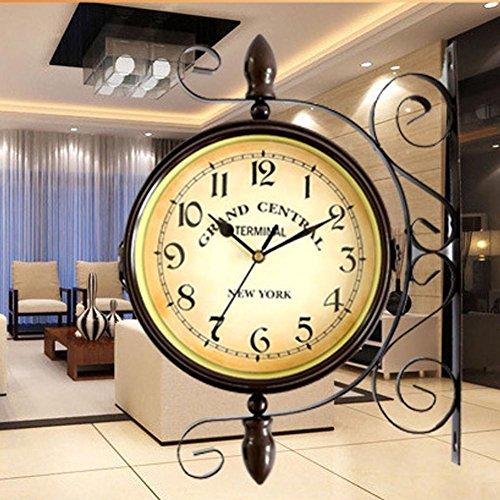 Doppio lato dorato orologio da stazione vintage stile europeo vintage clock innovative fashionable doppio garden outdoor orologio da parete