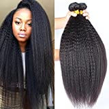 BLISSHAIR Brazilian Kinky Straight Human Hair 3 Bundles Yaki Straight Hair Weave 100%