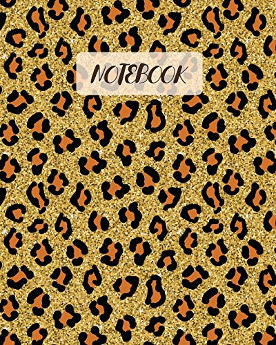 Notebook: Leopard Faux Glitter Cover - Lined Notebook, Diary, Track, Log & Journal - Gift for Boys Girls Teens Men Women (8