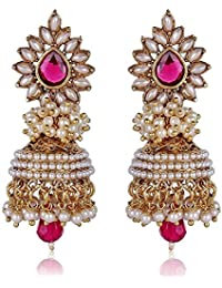 Shining Diva Bollywood Inspired Traditional Pearl Stylish Fancy Party Wear Jhumka / Jhumki Earrings For Girls and Women