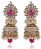 Shining Diva Pink White Pearl Jhumki Ear...