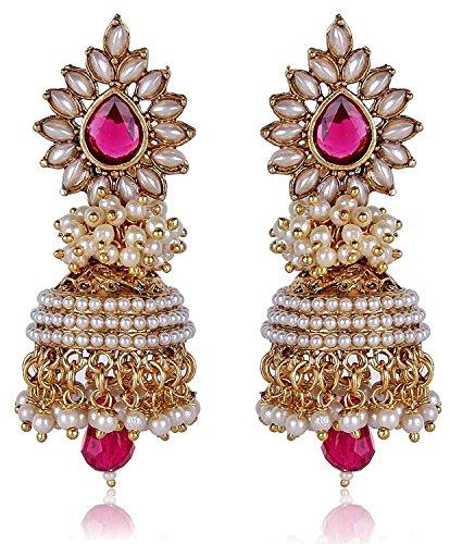 Shining Diva Pink White Pearl Jhumki Earrings For Women