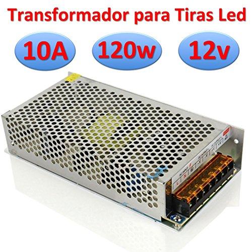 Transformador 12v DC 10A 120w Profesional Alimentador para Tiras Led Fuente de Alimentación 220v -> 12v (12v 10A 120w Profesional)