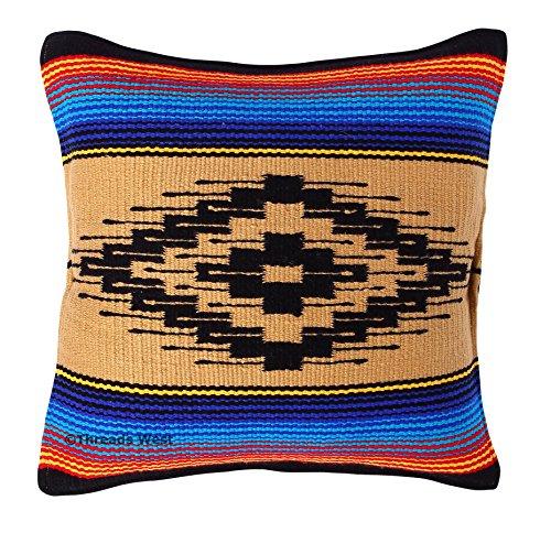 Threads West Werfen Kissenbezug 18x 18, Southwest, Mexikanischen von Hand Gewebt, und Native American Styles. Handgefertigt Western Deko Kissen, Acryl, Beige, 18x18