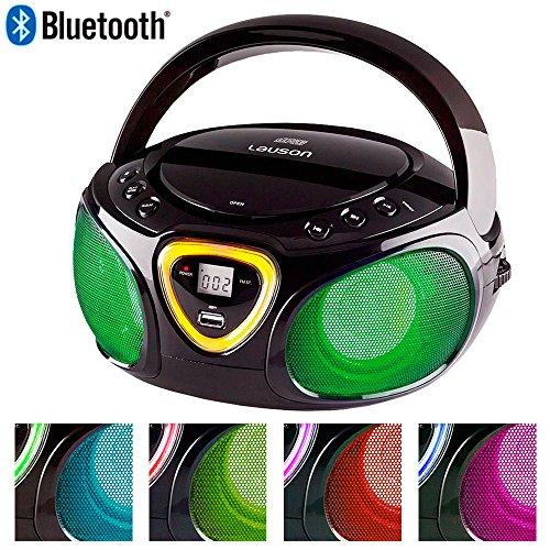 Lauson Lettore Portatile CD, USB, Radio AM/FM, MP3, SD-Card, AUX IN, (Multicolore) (Nero) CP452