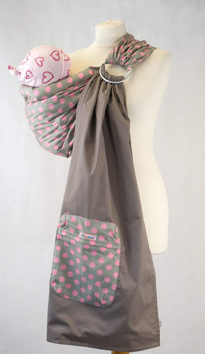 "Ring Sling - Grey With Pink Polka Dots Palm & Pond Suitable for babies from birth to 35lbs. 180cm from the ring to each end giving a total length of 360cm. Full instructions on how to use your Ring Sling in two positions, ""Cradle"" and Hip"", will be sent with your sling. 1"