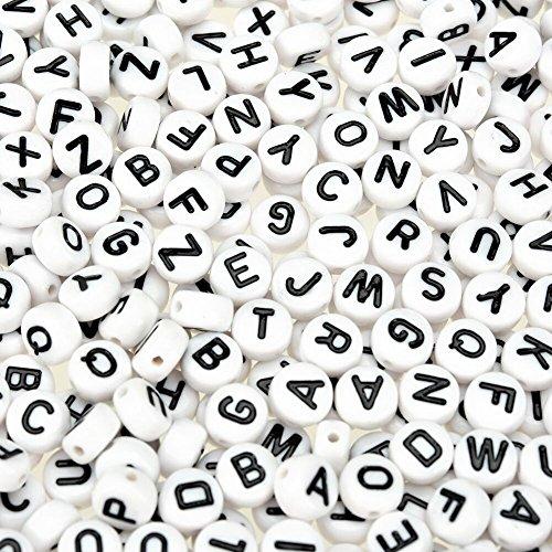 TOAOB 600 Stück Buchstabenperlen Weiß Acryl Perlen mit Schwarz Buchstaben A-Z Rund 4 x 7 mm für Armbänder Halsketten und Schlüsselanhänger
