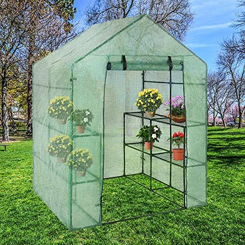 SinceY Gewächshaus aus aus Kunststoff, Pflanzliche Abdeckung für Gewächshaus, geöffnet, für Garten und Garten, 143 x 73 x 195 cm
