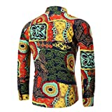 DAYLIN Clearance New Personality Mens Summer Large Size Daily Casual Hawaii Slim Long Sleeve Printed Shirt Top Beach Top Blouse Hot Sell M~4XL (4XL, Multicolor2)