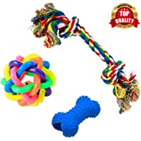PetVogue Training Toy Set with Ball Ropes and Squeaky for Small Doggie and Pets - Pack of 3