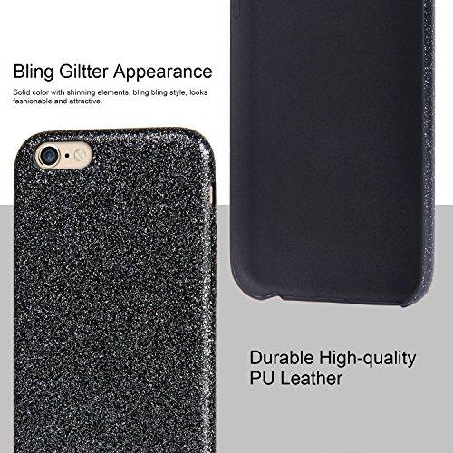 """iPhone 6 6s Hülle, Imikoko® Luxus Bling Glitzer Schutzhülle Softcase Weich Hülle Handyhülle Tasche Etui Case [PU + Glitzer Papier] für iPhone 6 6s(4.7"""",Schwarz ) Schwarz"""