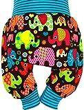 Ollexo Babyhose Pumphose Mitwachshose Kinderhose Schlupfhose Jerseyhose Elefanten (74-80)