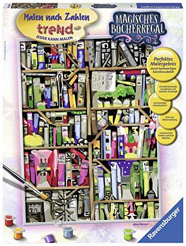 Ravensburger 28895 - Magisches Bücherregal - Malen nach Zahlen Trend, 30 x 40 cm (3 Stück Bücherregal)