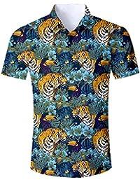 ae87cdb22 ALISISTER Camisa Hawaiana Hombre Estampado en 3D Botón Informal Abajo Playa  Camisa Manga Corta Aloha de