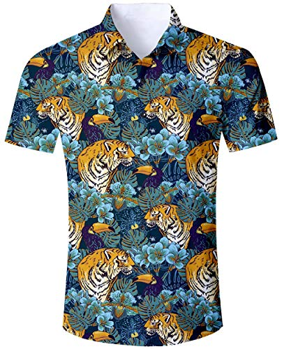 ALISISTER Men's Ugly Floral Hawaiian Shirt Funky Button Down Blouse Short Sleeved Tshirt Adult Cool Tiger Floral Hawaiian Tshirt Casual Beach Aloha Party Vacation Hawaii Wear XL
