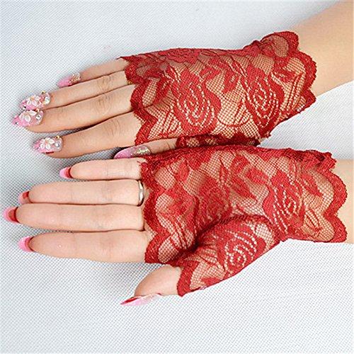 SINOTECH Floral Spitze Fingerlose Damen Handschuhe–Elegantes Sexy Handschuhe für Halloween Fancy Kleider Hen Night Party Hochzeit, rot, 13.5*8.5cm