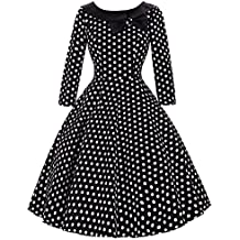Belle Poque® Vestido Vintage sin Mangas/Manga 3/4 Falda Acampanada Plisada con