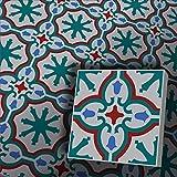 Zementfliesen Iraquia blau petrol grau rot Musterfliese
