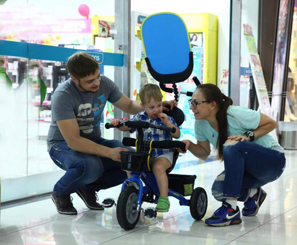 Lhh Kids Three-wheeled Trolley With Awning Foldable Bilateral Steering Titanium Empty Wheels For Kids 6 Months -6 years Old,Blue Lhh [Multi-function tricycle] Bearing capacity: 50KG,Age: 6 months-6 years old,Material: steel tube frame, environmentally friendly PC seat and ,accessories, rubber tire foam tire,Weight: 10.8kg, Specifications total length: 81cm,Width: 56cm,Height: 64cm,Suitable for outdoor horizontal roads or spacious and accessible indoors [Safety Certification] tricycle has a folding function that can be easily placed in the trunk of the car. The tricycle is equipped with an anti-UV 50, a roof adjustable on 3 levels, offer maximum comfort and convenience. Tricycle has a unique feature of two foot rest, one at the bottom of the child seat and others at the front wheel. [Silent Wheels] This stroller is equipped with a high quality titanium vacuum wheel, mute resistance and abrasion are its greatest features, suitable for different road conditions, Such as sand, shock absorbing belt, the lawn, the gravel road, the brick road. 6