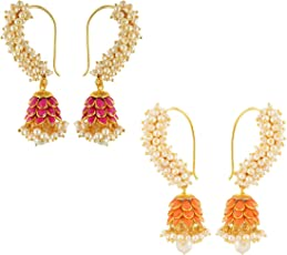 Aabhu Fashion Jewellery Gold Plated Stylish Fancy Party Wear Traditional Jhumka Jhumki Combo of 2 Pairs Earrings For Women And Girl