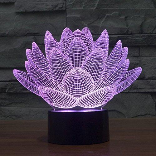 Lampe 3D ILLUSION Lichter der Nacht, kingcoo 7Farben LED Acryl Licht 3D Creative Berührungsschalter Stereo Visual Atmosphäre Schreibtischlampe Tisch-, Geschenk für Weihnachten, Kunststoff, Lotus 0.50 wattsW - 4