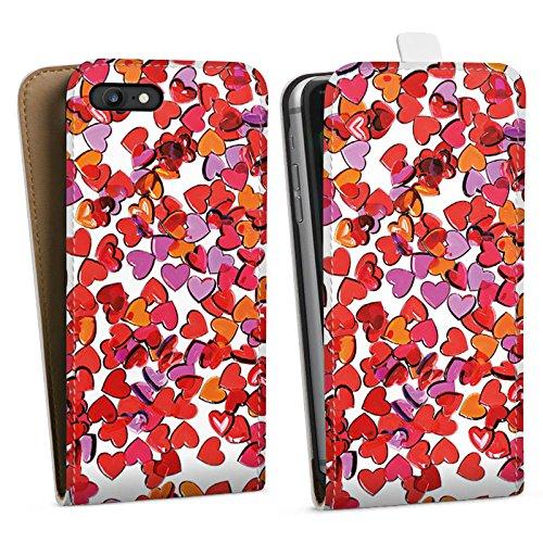Apple iPhone X Silikon Hülle Case Schutzhülle Liebe Herz Muster Downflip Tasche weiß