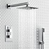 "iBathUK Thermostatic Mixer Shower Set 8"" Head Handset + Chrome 2 Way Valve"