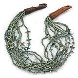 Collar con cierre de gancho de madera, estilo étnico, con múltiples alambres de cristales y...
