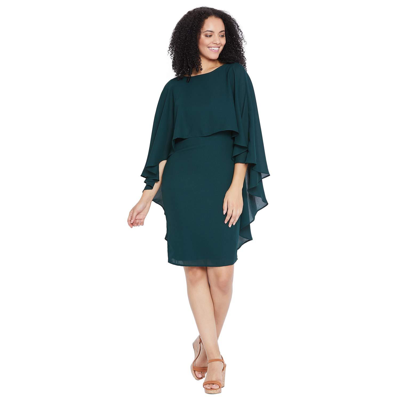 FEMELLA Women's Green Cape Overlap Mini Dress