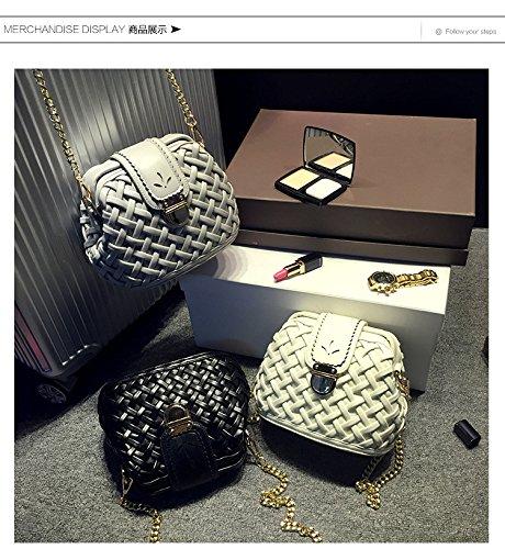 X&L Women's weben Schlösser Mode geschleudert EZ Kette Umhängetasche22*17*12 Black