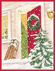 Entertaining with Caspari Snowy Porch Christmas Cards (Box of 16)
