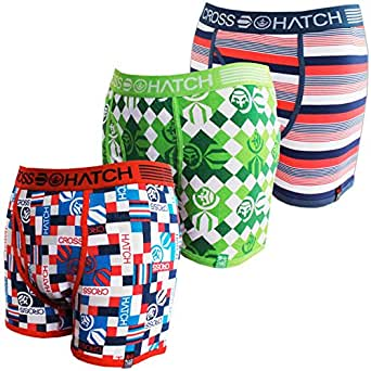 Mens Boys Pack of 3 Crosshatch Designer Boxer Shorts Underwear Trunks (XL, Stellar+GreenFlash+BoxRed)