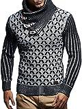 LEIF NELSON Herren-Strickpullover | Strick-Pulli mit Schalkragen | Moderner Woll-Pullover Langarm Sweatshirt mit Knöpfen